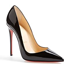 This glossy So Kate pump boasts Christian Louboutin's finest stiletto heel, set near-vertical to dramatically shape your gait into a jaw-dropping stride. The iconic red sole-born from a brush with red nail color-pops beneath the graceful curv...