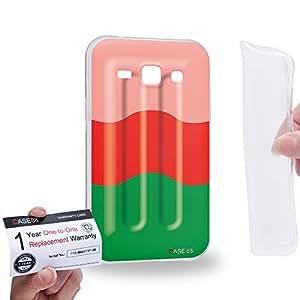 Case88 [Samsung Galaxy J1] Gel TPU Carcasa/Funda & Tarjeta de garantía - Art Hand Drawing Watermelon Flavor Ice Pop 2650