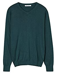 Meters/bonwe Men's Casual V Neck Long Sleeve Solid Color Sweater