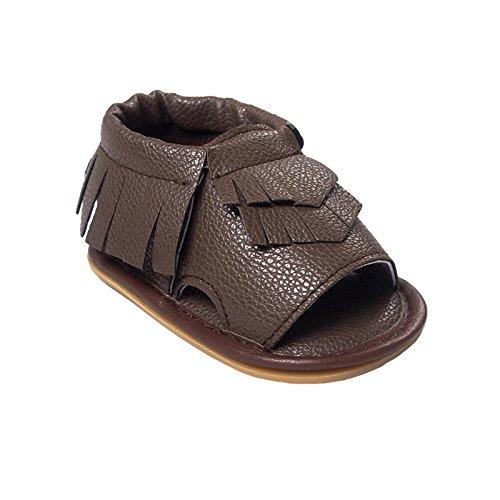 Vanbuy Baby Moccasins Boys Girls Soft Robber Sole Tassels Sandals Infant Toddler Anti Slip Crib Shoes Dark Brown-S