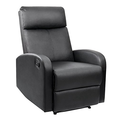 Devoko Adjustable Single Recliner Chair Manual Modern Living Room Sofa Padded Cushion Home Theater Seating (Black)