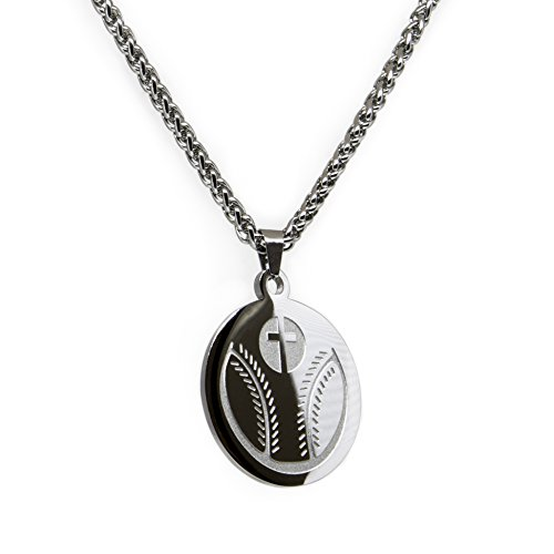 Luke 1:37 Baseball Cross Necklace and Pendant Stainless Steel for Athletes with Bible Quote Prayer | Christian Gift for Boys and Girls Smaller - Gifts Athletes For