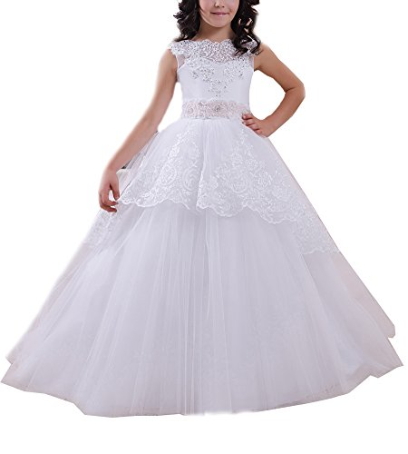 Beauty Bridal Lace Beaded Tulle First Communion Dress Girl Flower Pageant Dress (8,White)