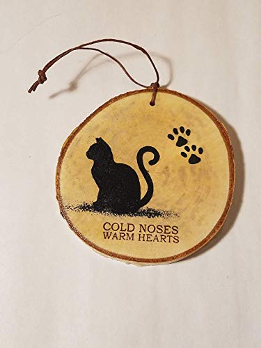 FUR BABY MOTHERS DAY GIFT, cat lover gift, Cat christmas tree ornament, hand painted rustic woodland decor on a white birch tree wood slice PERSONALIZE IT!!!
