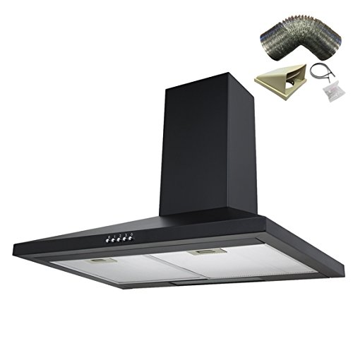 SIA CH71BL 70cm Black Chimney Cooker Hood Extractor Fan + 1m Ducting