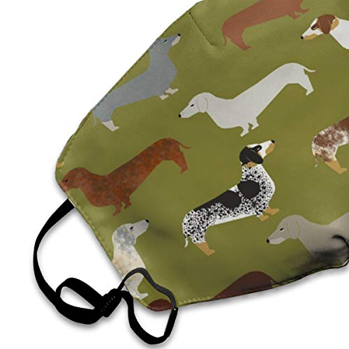 NOT Doxie Dachshund Green Dogs PM2.5 Mask, Adjustable Warm Face Mask Unique Cover Filters Blocking Pollen Pollution Germs,Can Be Washed Reusable Pollen Masks Cotton Mouth Mask for Men Women
