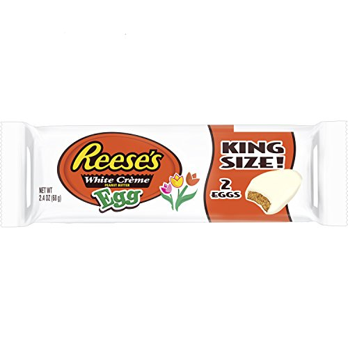 REESE'S White Cr√me Peanut Butter Egg, White Creme Covered Peanut Butter Egg Shaped Candy in Packaging, 2.4 Ounce Package (Pack of 24)