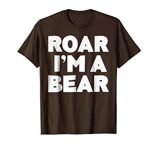 Mens Roar I'm A Bear T-Shirt Halloween Costume Shirt Large Brown