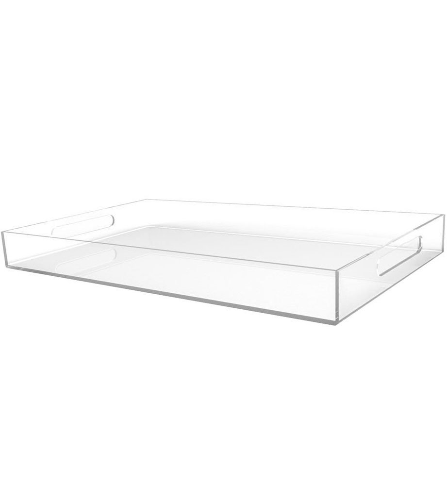 Sooyee Clear Serving Tray Spill Proof 12X20 Large Premium Rectangular Acrylic Tray for Coffee Table, Breakfast, Tea, Food, Butler Decorative Display, Countertop, Kitchen, Vanity Serve Tray with Hand