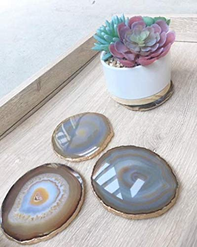 Set of 4 Agate Coasters - Natural Colored Agate Coasters - Gold Rimmed - Bumpers