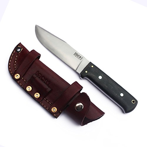 GCS Custom Handmade Stacked Leather Handle D2 Tool Steel Dagger Skinner Bushcraft Knife Knives Bowie Buffalo Hide Sheath 113 -