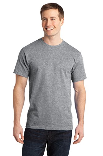 Sportoli174; Men's Essential Basic 100% Cotton Crew Neck Short Sleeve Long T-Shirt - Heather Grey (Size XL) (Weed Pajama Pants)