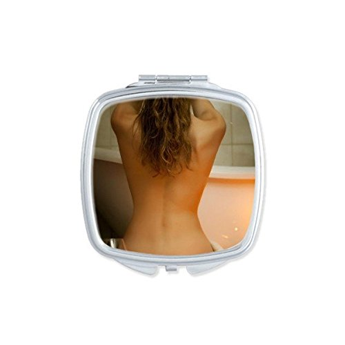 Bathroom Nude Sexy Babe Girl Butt Ass Bathtub Pretty Gal Lady Square Compact Makeup Pocket Mirror Portable Cute Small Hand Mirrors - Mirror Nude Babes