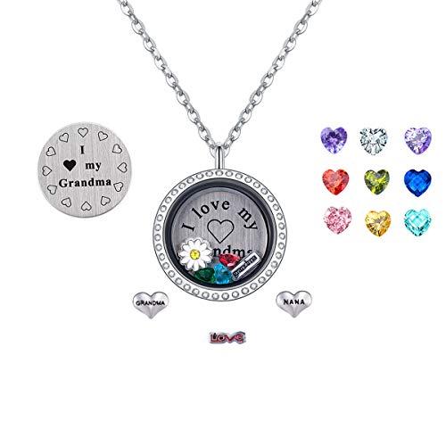 (PORPI-JOJO I Love Grandma Floating Lockets Necklace Pendant Living Memory Locket 30mm Stainless Steel to Grandmother)