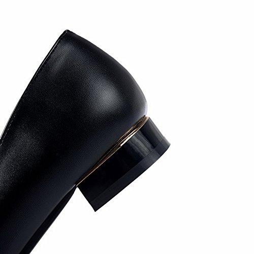 Balamasa Ladies Low-heels Round-toe Pull-on Metal Bowknot Bombas De Goma-zapatos Negro