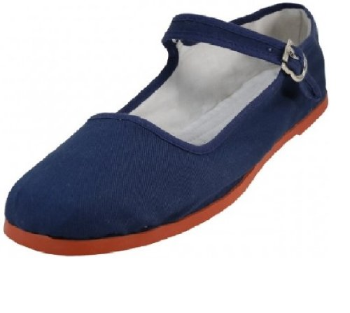 114 China Mary 18 Womens Navy Canvas Ballerina Shoes Doll Ballet Cotton Flats Jane vxtFdcXqw