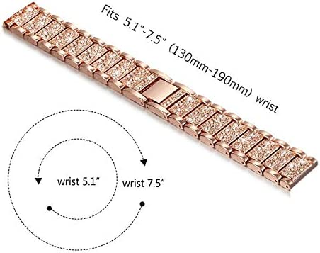 Abanen Compatible with Fossil Q Venture Watch Band,18mm Lightweight Alloy Metal Bling Crystal Quick Release Wristband Strap for Fossil Q Venture Gen4/3,Fossil Women's Sport (Rose Gold) 41jb7ejmjlL