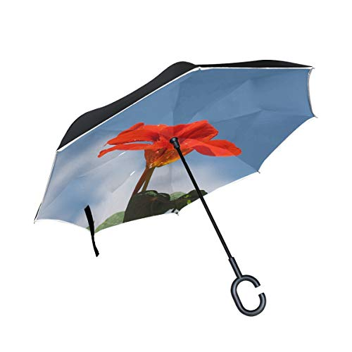 (Double Layer Inverted Nasturtium Cress Blossom Bloom Carbine Greenhouse Umbrellas Reverse Folding Umbrella Windproof Uv Protection Big Straight Umbrella For Car Rain Outdoor With C-shaped Handle)