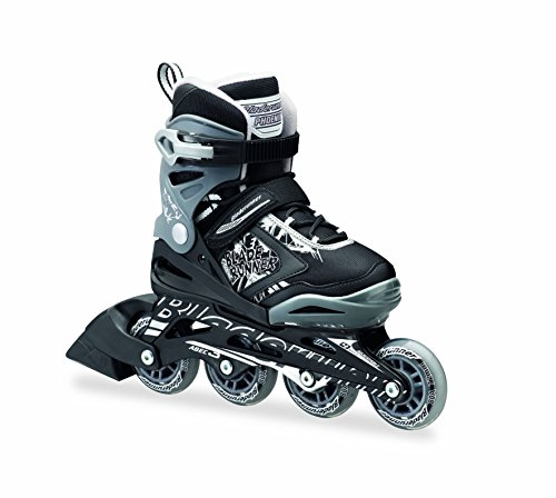 Bladerunner by Rollerblade Phoenix Boys Adjustable Fitness Inline Skate, Black and Silver, Junior, Value Performance Inline Skates (Boys In Line Skates)