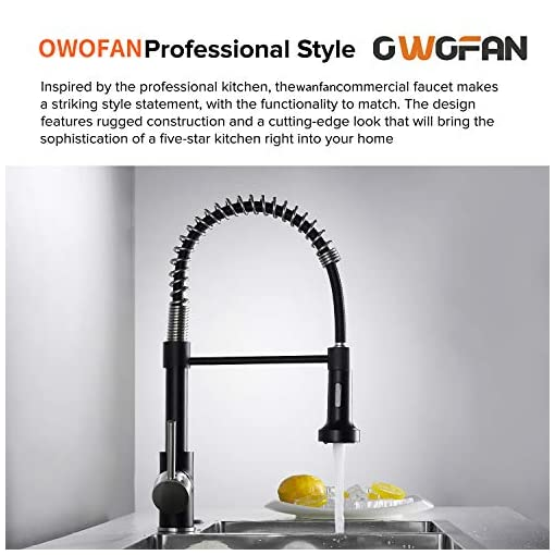Kitchen OWOFAN Low Lead Modern Single Handle Pull Down Sprayer Spring Kitchen Faucet, Brass Black&Brushed Nickel Kitchen Sink… modern sink faucets
