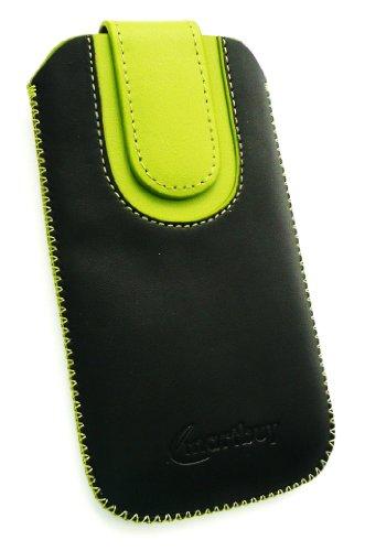 Emartbuy ® LG Optimus L3 II E430 Negro / Verde Pu Del Premio Slide Cuero De La Bolsa / Caja / Manga / Titular (Tamaño Grande) Con Mecanismo Ficha De Extracción Y Protector De Pantalla