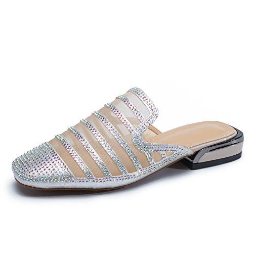 silvery Ladies diamantes verano mujer estampados tenis cabezas de mujer de Zapatos de Bottom redondas yalanshop qSaTW6wO