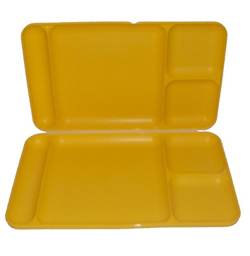 Tupperware Divided Dining TV Trays Picnic Kids Lunch Plates Yellow (Tupperware Kids Trays)