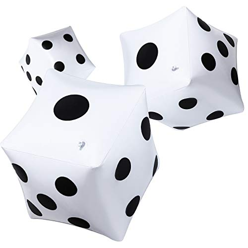 (Blulu 3 Pack Giant Inflatable Dice 12 Inch Jumbo Dice White Jumbo Large Inflatable Dice for Game Pool Toy Party Favour (White, 3 Pack))