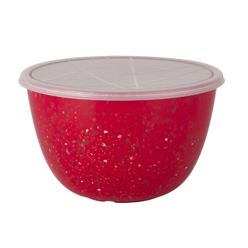 Zak! Designs Confetti Mixing Bowl with Lid, Durable and BPA-free Melamine, 3 Quart, Red