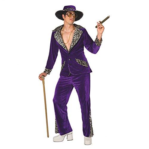 Mens Pimp Daddy Costume Purple Velvet Suit for Bachelor Stag Party Fancy Dress