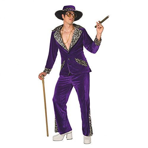 Mens Pimp Daddy Costume Purple Velvet Suit for Bachelor Stag Party Fancy Dress]()