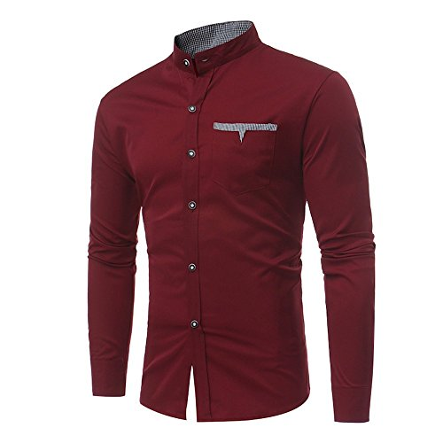 Realdo Mens Smart Casual Shirt, Solid Long Sleeve Slim Stand Collar Fit Single Breasted -