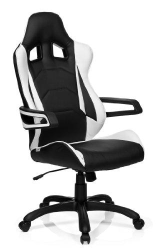 hjh OFFICE 621836 Gaming Stuhl / Bürostuhl RACER PRO I Kunstleder schwarz/weiß