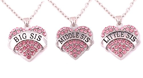 Charm.L Grace Matching Necklaces Set, pink-3pcs