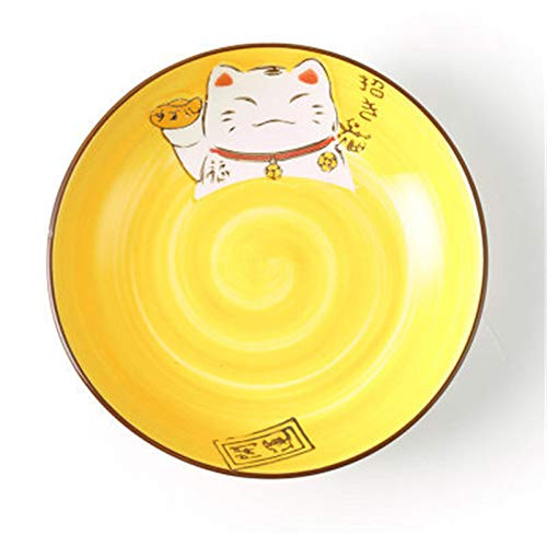 Creative hand-painted cartoon Japanese and Korean style lucky cat bowl dishware cutlery set Western plate ceramic plate disk deep plate yellow 6 - Elegance Cat Bowl