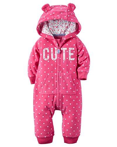 Carter's Baby Girls' 1 Piece Fleece Hood Jumpsuit (18m, (1 Piece Hood)