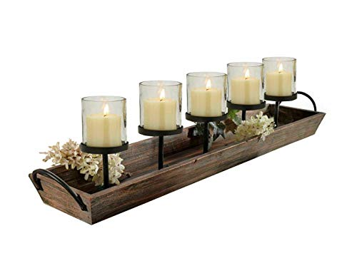 27.5 in. Rustic Wood Candle Centerpiece Tray w/ Five Metal Candle Holders Product SKU: CL229603 ()