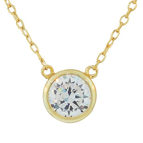 Bridal Set Yellow Pendant - 925 Sterling Silver Yellow Gold-Tone Solitaire Bezel-Set White CZ Pendant Necklace, 18