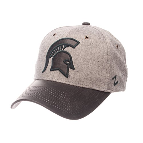 Spartans Leather Mens - ZHATS NCAA Michigan State Spartans Adult Men The Supreme Cap, Adjustable, Gray
