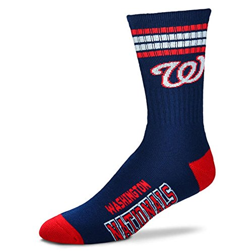 MLB 4 Stripe Deuce Socks - Men's Large (fits 10-13) (Washington Nationals) (Padres Cycling Jersey compare prices)