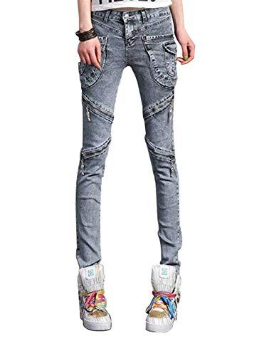Mujeres Ropa Con Bolsillos Sólido Cremallera Colores Vaqueros Cargo Denim Grau Sólidos Punk Pantalones Color Casuales Harem Motocicleta Lápiz rqRxr0