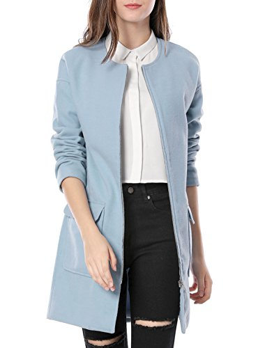 Allegra K Women's Casual Zip Up Drop Shoulder Flap Pockets Coat XS Blue