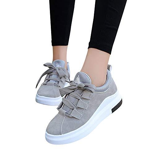 Sneakers Zapatos Ligero Calzado Casuales Deportivos Plataforma Gimnasia Mujer de Cordones Primavera Moda Gris de Verano Grueso Cinnamou Fondo 2018 Zapatillas qUdCqxO