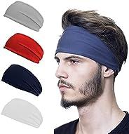 Sports Headbands, Outdoor 5Pack Workout Headbands for Women Mens, Lightweight Sweat Band Moisture Wicking Work