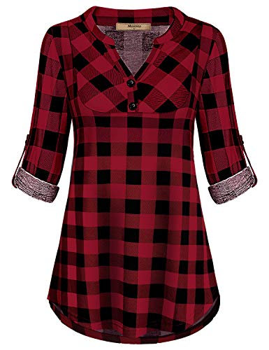 (Miusey Mandarin Collar, Ladies Emellished Tops for Women Flowy Loose Fit Notch V Neck Petite 3/4 Cuffed Sleeve Simple Checked House Wear Pleated Novelty Clothes Red M)