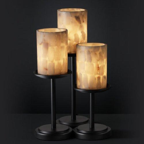 Alabaster Contemporary Table Lamp - Justice Design Group Alabaster Rocks! 3-Light Table Lamp - Matte Black Finish with Shaved Alabaster Rocks Cast Into Resin Shade