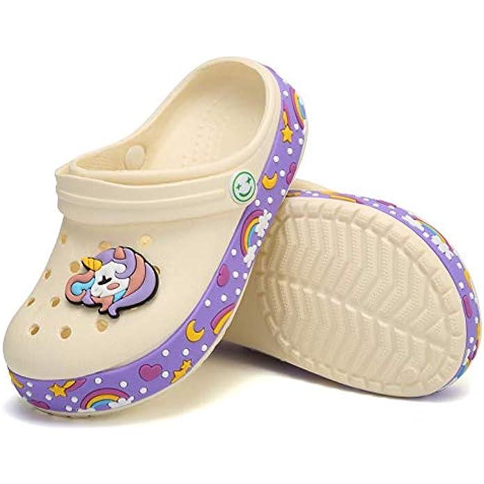 Unicorn Clog Sandals for Toddler, Water Shoes for Boys Girls, Slip On Garden Slide Sandals for Little Kids, Children Swimming Pool Shower Beach Slippers