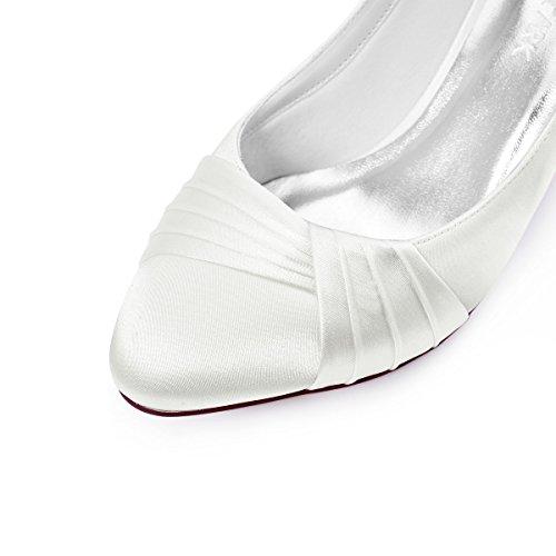 Elegantpark HC1608 Ivory Damen Geschloessene Zehen Komfort Pleated Satin Pumps Brautschuhe Ivory