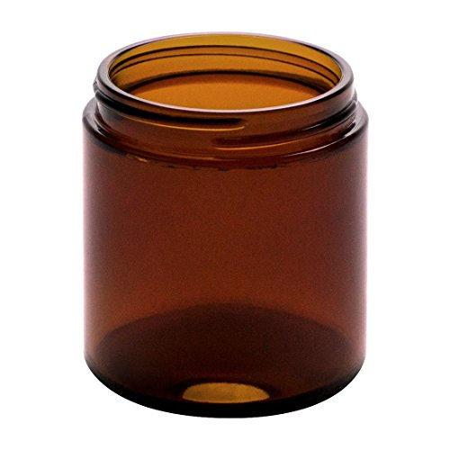 North Mountain Supply 4 Ounce Amber Glass Straight Sided Mason Canning Jars - with 58mm Lids - Case of 24 - Black Metal Lids