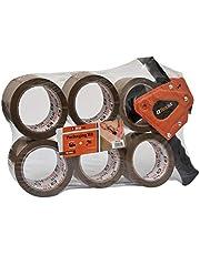 MT2259 – Brackit Brown förpackningstejp med dispenser, 48 mm x 66 m, paket med 6 rullar – stark kraftig förpackningstejp för regelbunden användning eller rörlighet – förseglar enkelt dina paket och lådor